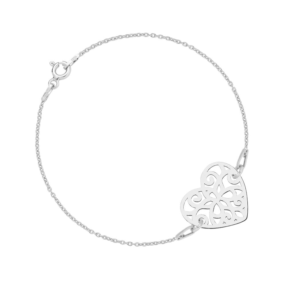Wspaniały Srebrna bransoletka celebrytka z serduszkiem LAONI RJ01